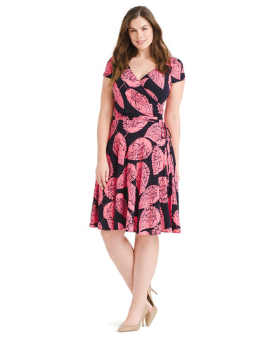 Texture Leaf Print Faux Wrap Dress