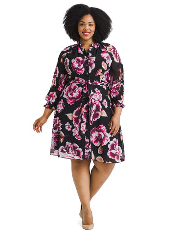 Ruffle Cuff Floral Shirt Dress