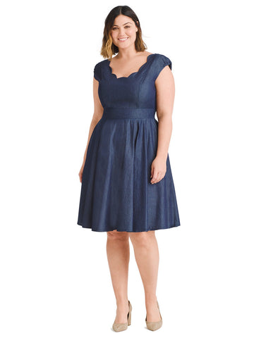 Scallop Trim Chambray Fit And Flare Dress