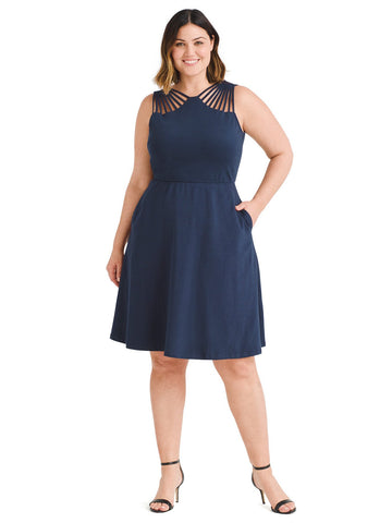 Shoulder Cutout Navy Fit And Flare Dress