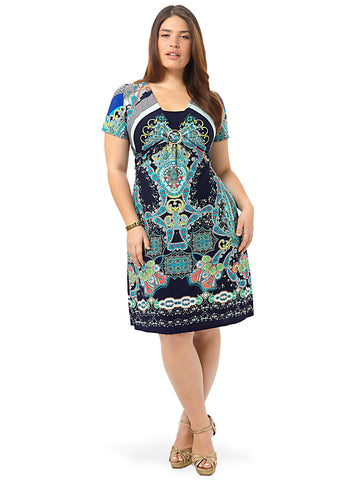 Short-Sleeve Paisley Printed Dress