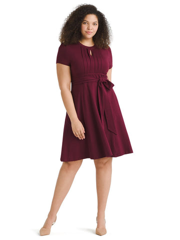 Front Pleat Burgundy Fit And Flare Dress