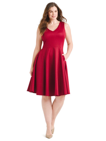 Textured Red Fit And Flare Dress