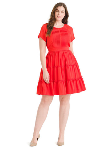 Tomato Red Fit And Flare Dress