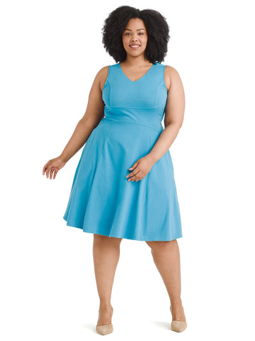 Blue Turquoise Fit And Flare Dress