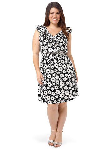 Printed V-Neck A-line Dress With Ruffles