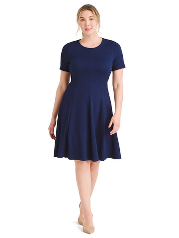 Textured Navy Fit And Flare Dress