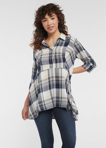 Eagles Plaid Sequoia Peplum Tunic Top