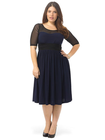 Twirl & Swirl Cocktail Dress In Navy