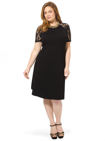 Swing Dress With Lace Raglan Sleeve