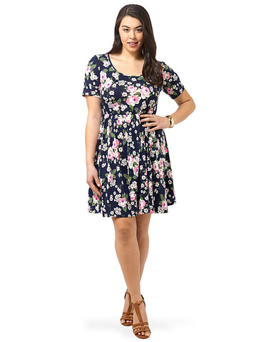 Navy Skater Dress In Rose Print