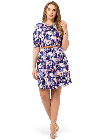T-Shirt Dress In Painterly Floral Print