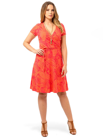 Shirred Surplice Dress In Coral Bliss