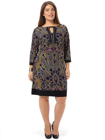 Embellished Paisley Print Shift Dress