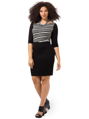 Diagonal Stripe Boatneck Fitted Dress