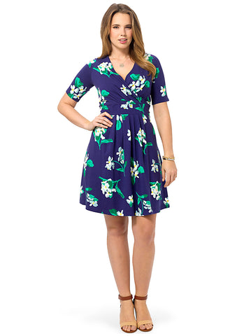 Indigo Floral Fit & Flare Dress