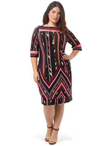 Pink Chevron Shift Dress