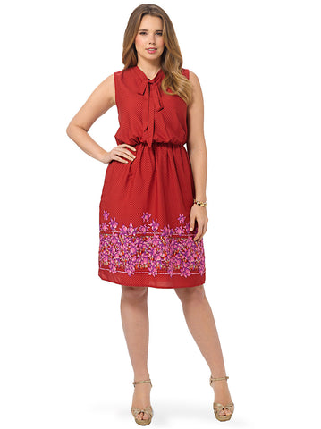 Decco Floral Bow Tie Dress