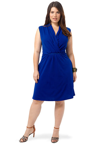 Cobalt Shawl Collar Dress