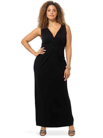 Black Jersey Maxi Dress With Twisted Front