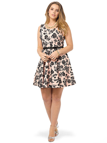 Nude Pink Floral Jacquard Skater Dress With Black Patent Belt