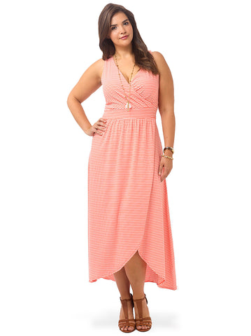 Coral Bliss Stripe Maxi Dress