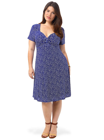 Knot Front Dress In Blue Polka Dot