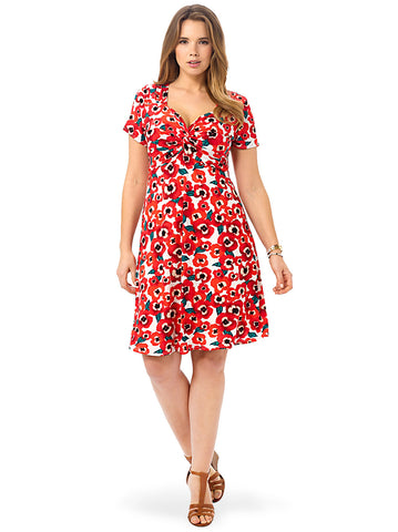 Knot Front Dress In Poppy Print