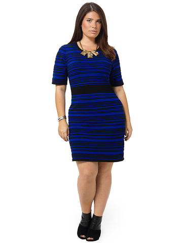 Striped Sweater Dress In Blue