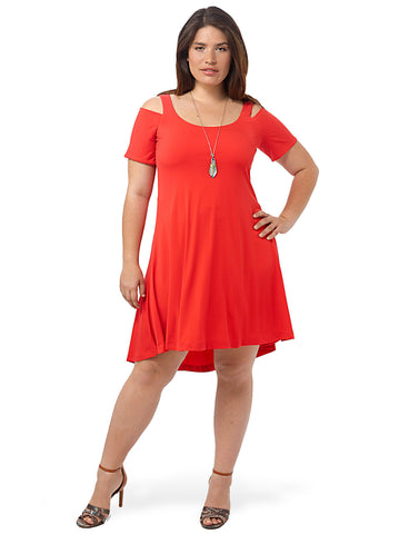 Nadine Cold Shoulder Dress In Poppy Red