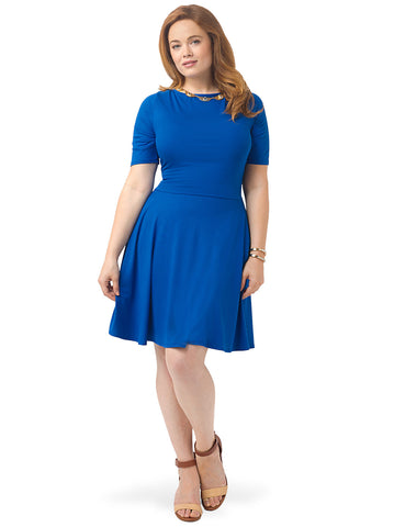 Half Sleeve Boatneck Dress In Blue Bella