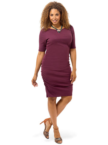 Short Sleeve Ruched V-Back Dress