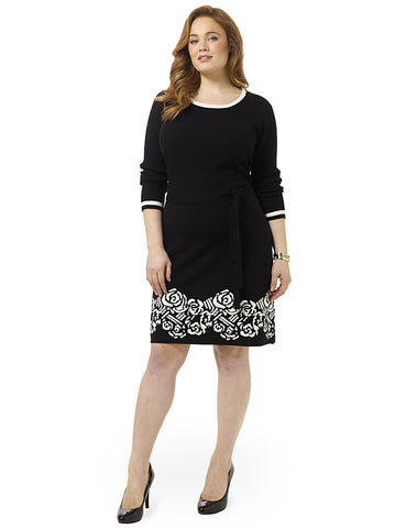 Sweater Dress With Jacquard Border