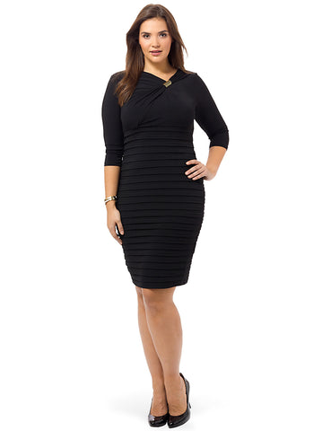Shutter Sheath Dress In Black