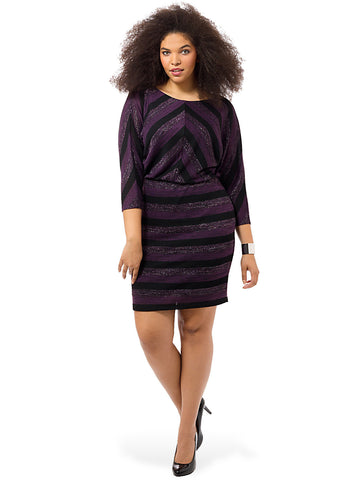 Knit Blouson Dress In Chevron