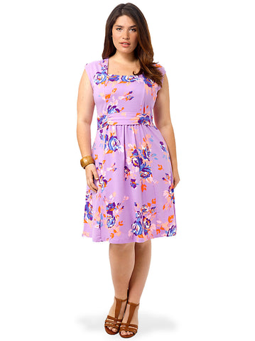 Square Neck Dress In Lilac Floral