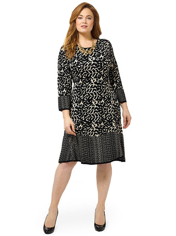 Printed Sweater Dress With Contrast Hem
