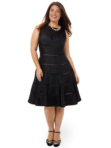 Illusion Fit & Flare Dress In Black