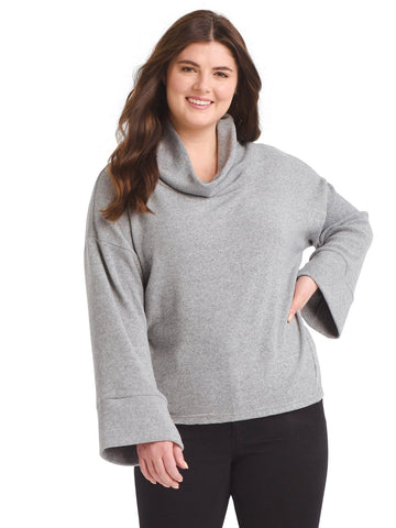 Cowl Neck Hi-Lo Hem Cozy Top