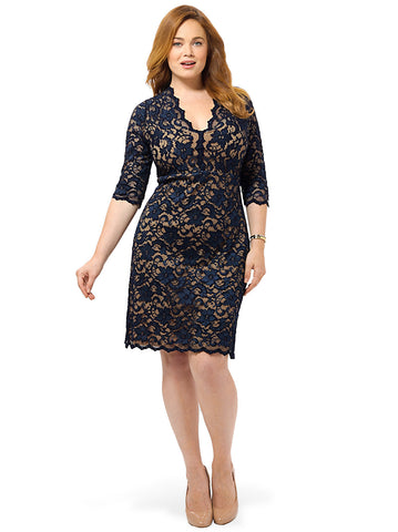 Scallop Lace Dress In Navy