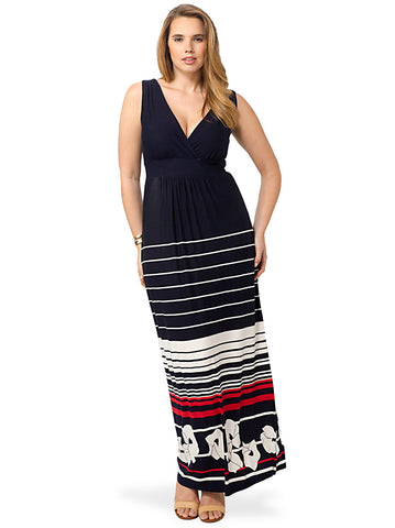 Navy Maxi Dress With White & Red Striped Floral Pattern