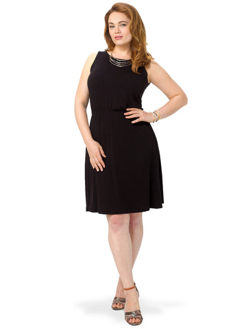 Black Sleeveless Jersey Skater Dress With Cross Detail Back