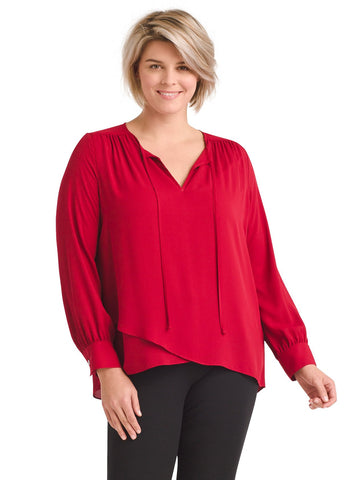 Crossover Red Silky Crepe Blouse
