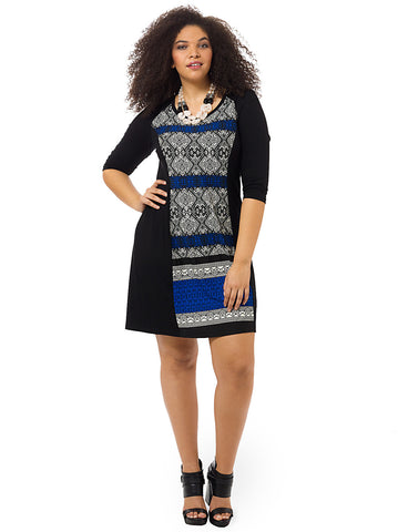 Panel Dress With Contrast Print