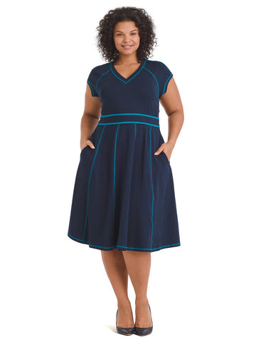 Contrast Stitch Navy Fit-And-Flare Dress