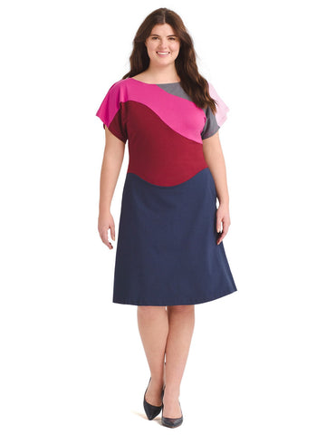 Curved Color Block Dress