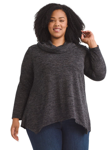 Cowl Neck Cozy Charcoal Top