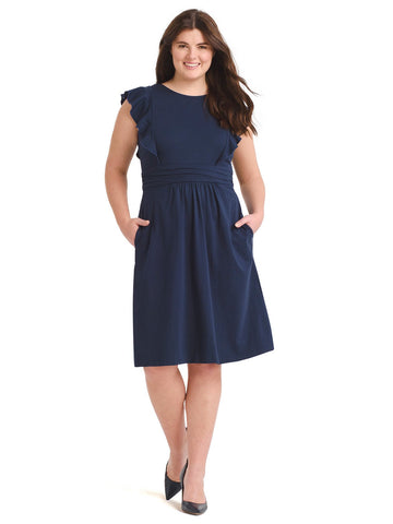 Ruffle Detail Navy Fit-And-Flare Dress