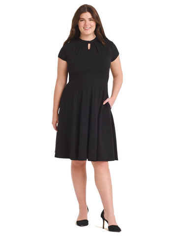 Keyhole Black Fit-And-Flare Dress