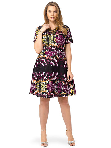 Ombre Abstract Printed Dress